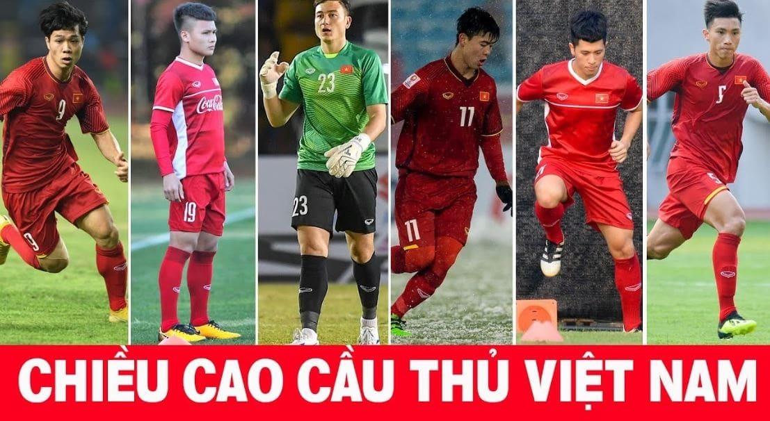 Chiều cao của các cầu thủ U23 Việt Nam